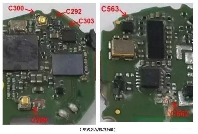 图中箭头所指位置的电容器失效,且失效电容位置均处于pcba板最边上.